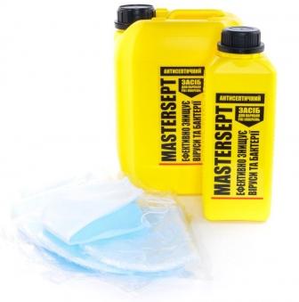 Набор: маска защитная + 5 л антисептик санитайзер для рук и поверхностей MASTERSEPT