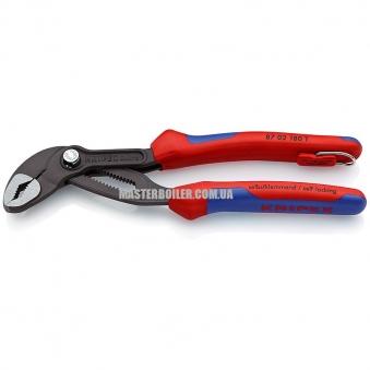 Высокотехнологичные сантехнические клещи со страховочным креплением KNIPEX Cobra® 87 02 180 T