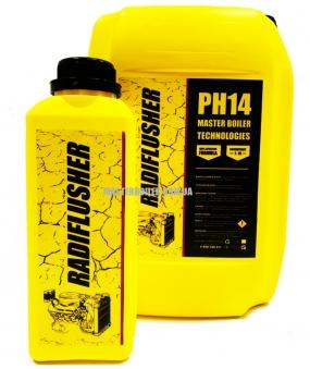 RADIFLUSHER PH 14, 1 л - щелочное cредство для промывки системы охлаждения автомобиля, радиатора печки отопителя салона